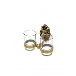 Держатель со стаканами настенный, двойной MILACIO MC.923.BR, бронза ( коллекция Valls )