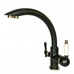 Смеситель для кухни под фильтр с краном для питьевой воды (2в1) MILACIO MC.513.ASN, антрацит/сатин ( коллекция Castellon Ceramic )