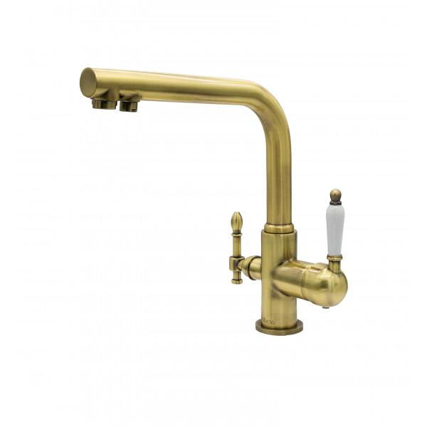 Смеситель для кухни под фильтр с краном для питьевой воды (2в1) MILACIO MC.512.BR, бронза ( коллекция Castellon Ceramic )