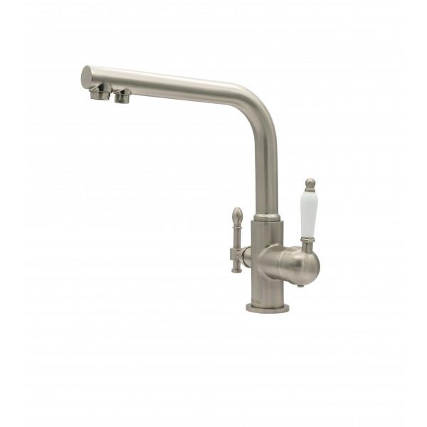 Смеситель для кухни под фильтр с краном для питьевой воды (2в1) MILACIO MC.512.SN, сатин ( коллекция Castellon Ceramic )