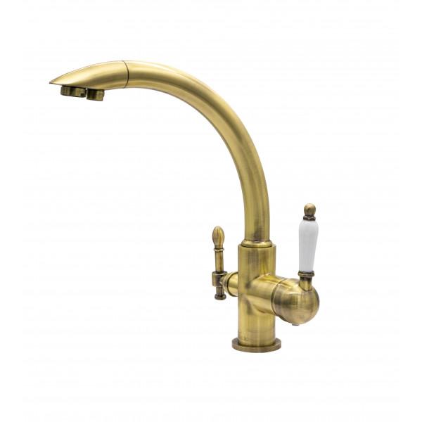 Смеситель для кухни под фильтр с краном для питьевой воды (2в1) MILACIO MC.513.BR, бронза ( коллекция Castellon Ceramic )