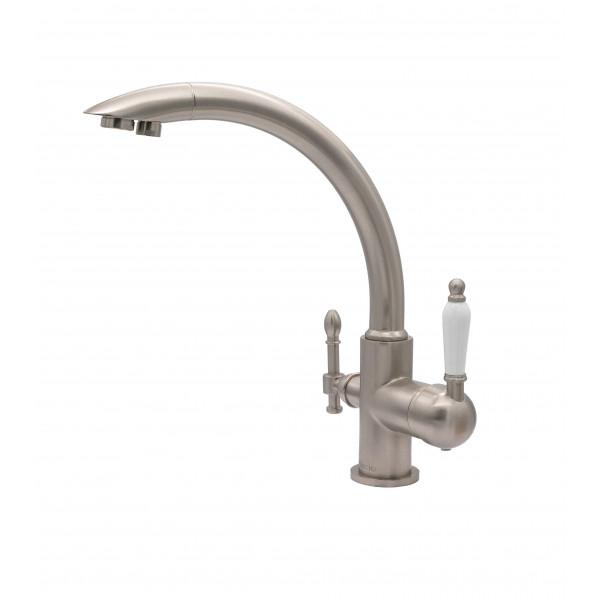 Смеситель для кухни под фильтр с краном для питьевой воды (2в1) MILACIO MC.513.SN, сатин ( коллекция Castellon Ceramic )