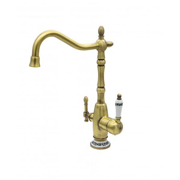 Смеситель для кухни под фильтр с краном для питьевой воды (2в1) MILACIO MC.514.BR, бронза ( коллекция Castellon Ceramic )
