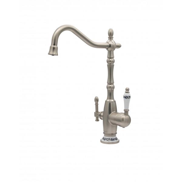 Смеситель для кухни под фильтр с краном для питьевой воды (2в1) MILACIO MC.514.SN, сатин ( коллекция Castellon Ceramic )