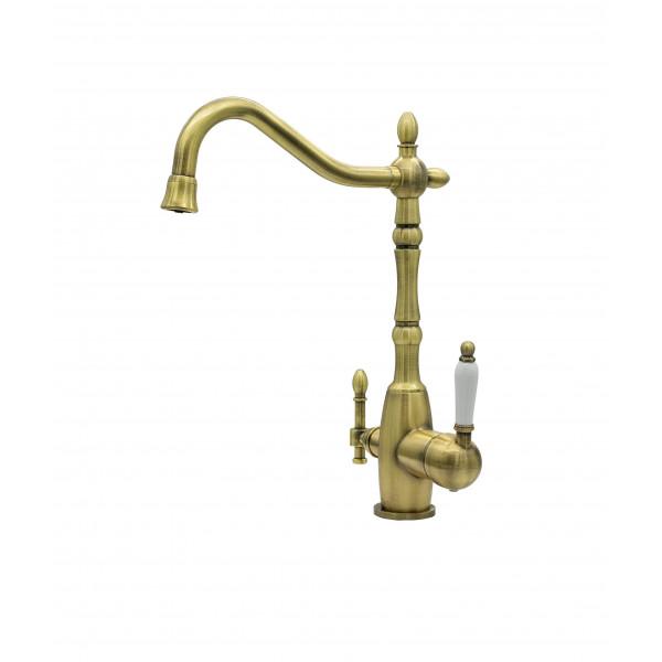 Смеситель для кухни под фильтр с краном для питьевой воды (2в1) MILACIO MC.515.BR, бронза ( коллекция Castellon Ceramic )